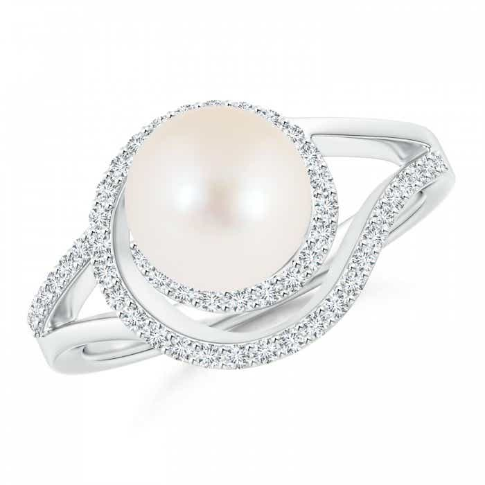Angara Freshwater Cultured Pearl and Diamond Swirl Ring cb0pDt1iSn