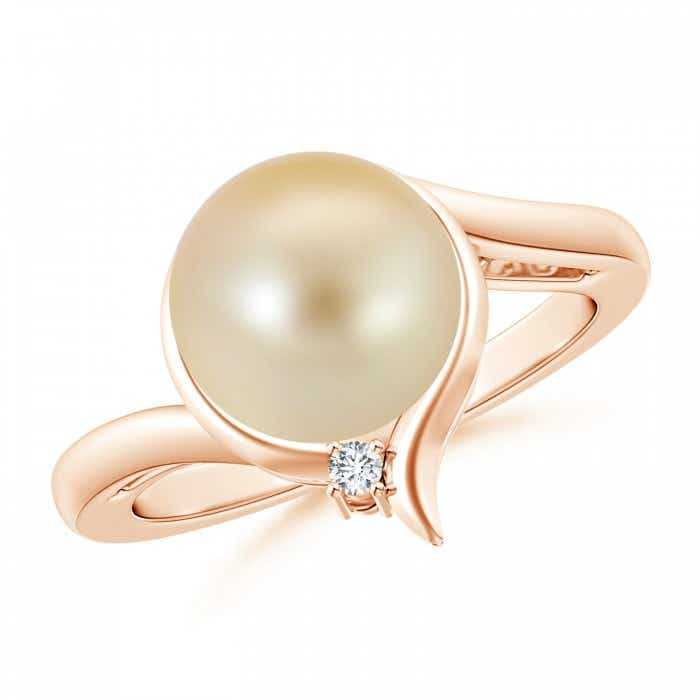 Angara Golden South Sea Cultured Pearl Ring with Trio Diamonds 2TS3gvg