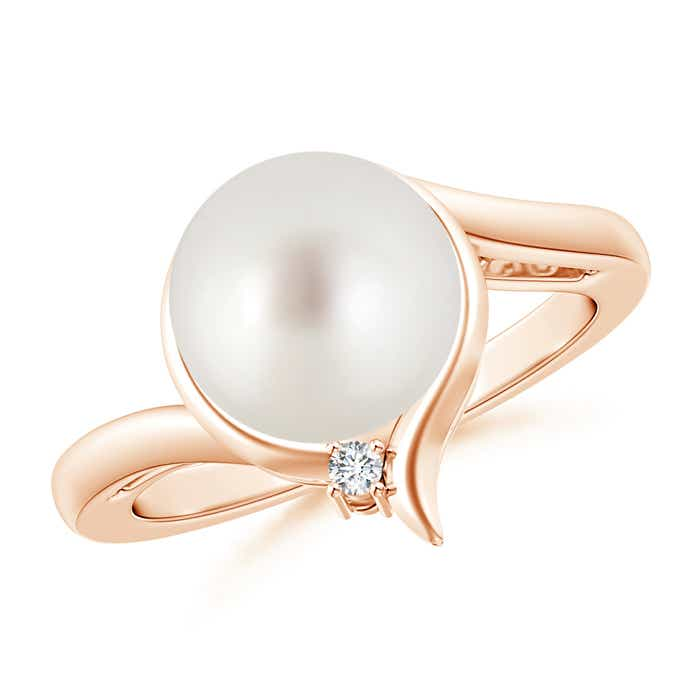 Angara Solitaire South Sea Cultured Pearl Bypass Ring with Diamonds WMIh3