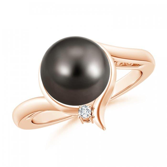 Angara Tahitian Cultured Pearl Ring with Trio Diamonds GQ1bVlMO