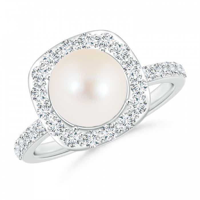 Angara Freshwater Cultured Pearl Ring with Floral Diamond Halo qfiSxn25