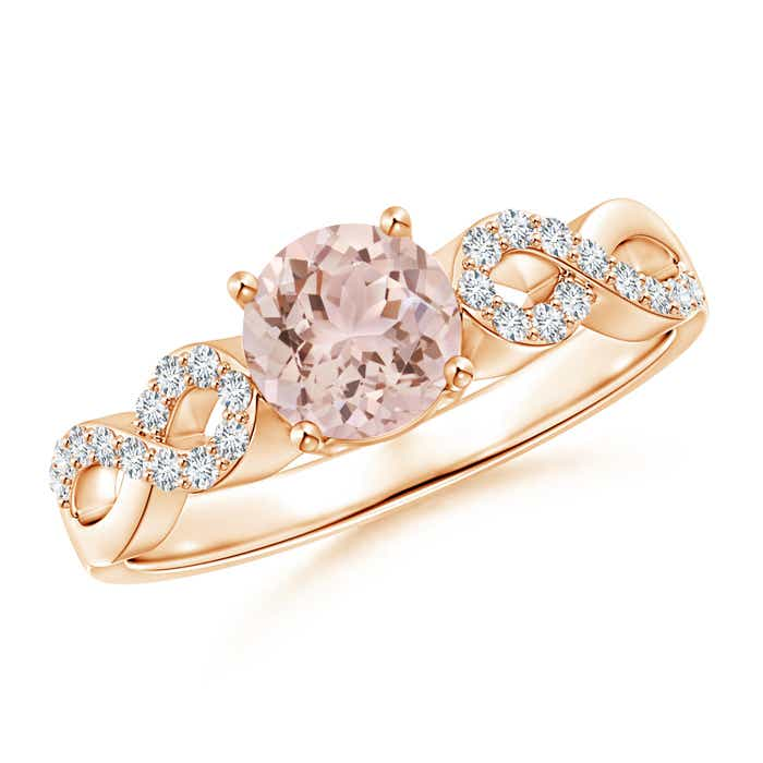 Angara Tapered Shank Morganite Solitaire Ring with Diamond Accents