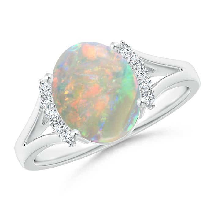 Angara Oval Opal Split Shank Ring with Trio Diamond Accents in Yellow Gold