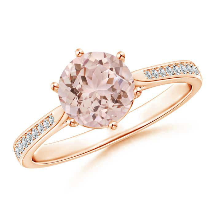 Angara Six Prong Diamond Engagement Ring in Rose Gold 5nxN5