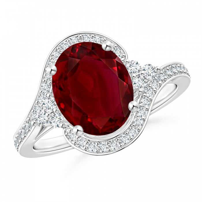 Angara Platinum Diamond Encrusted Shank Ruby Trio Engagement Ring