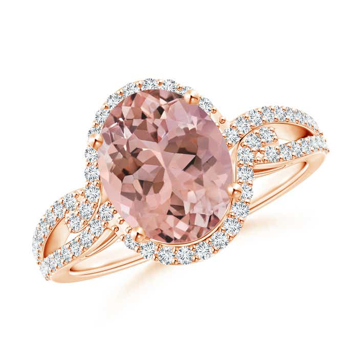 Angara Oval Morganite Split Shank Ring with Diamond Halo SLjwTi