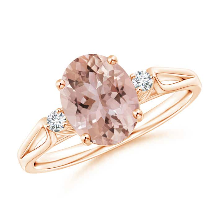 Angara Oval Morganite and Diamond Band Ring Set in Rose Gold 9ok49Tr