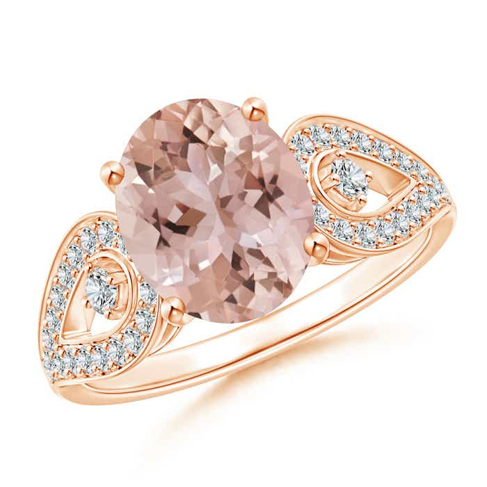 Angara Solitaire Oval Morganite Split Shank Ring with Pave Diamonds