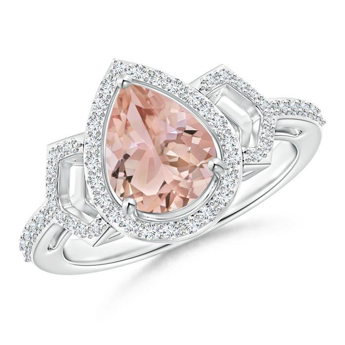 Angara Pear Shaped Morganite and Diamond Buckle Ring dICRhvlBA