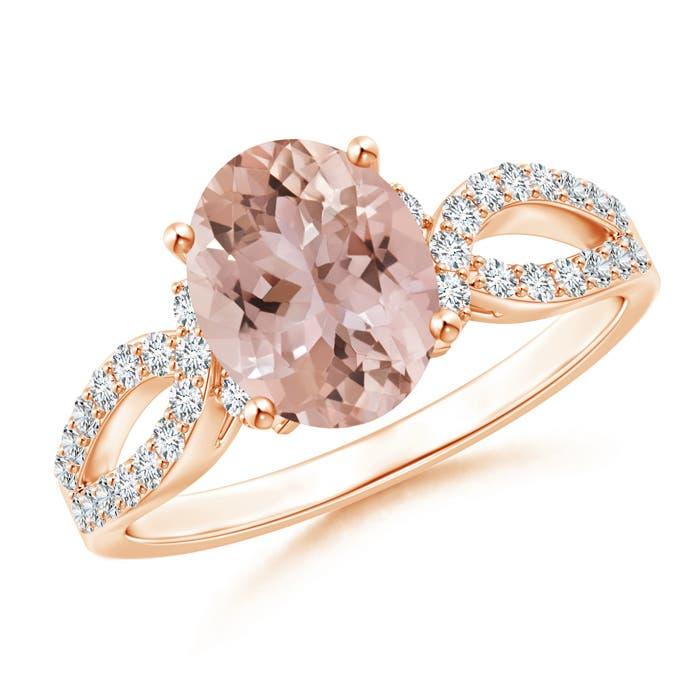 Angara Morganite Ring - Oval Morganite Split Shank Ring with Diamond Halo bYUg7Fe3