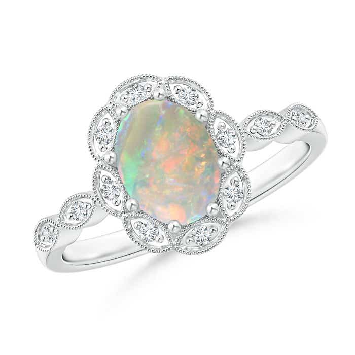Angara Diamond Natural Opal Three Stone Ring in White Gold