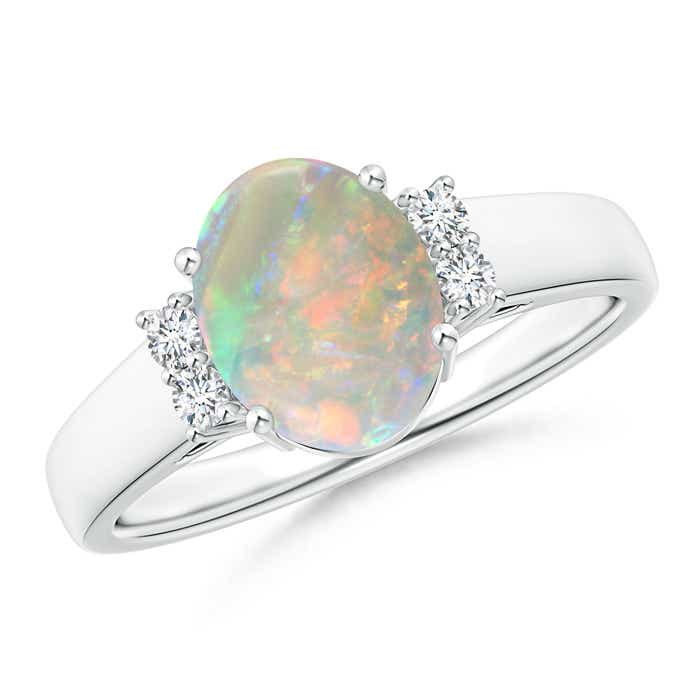 Angara Oval-Shaped Opal and Diamond Ring in Yellow Gold 4b4QR