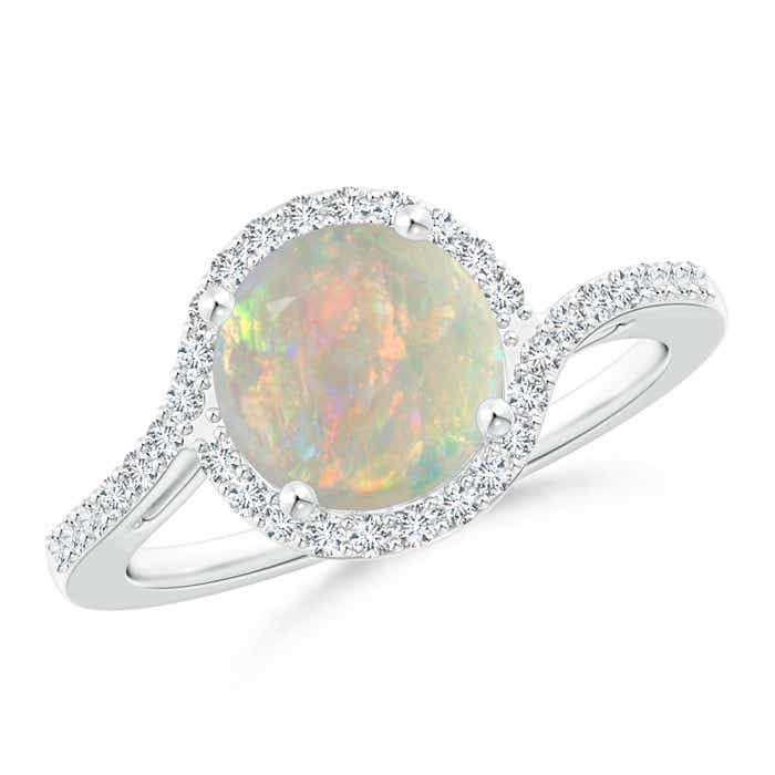 Angara Bypass Round Opal and Diamond Halo Ring zGGArE