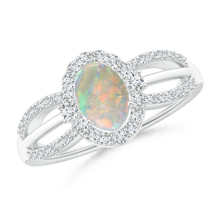 Angara Oval Opal and Diamond Halo Engagement Ring in Rose Gold pTLO8