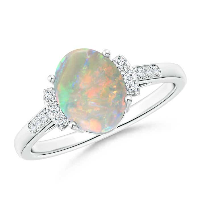 Angara Classic Solitaire Oval Opal Collar Ring with Diamond SFMIQ8Hm