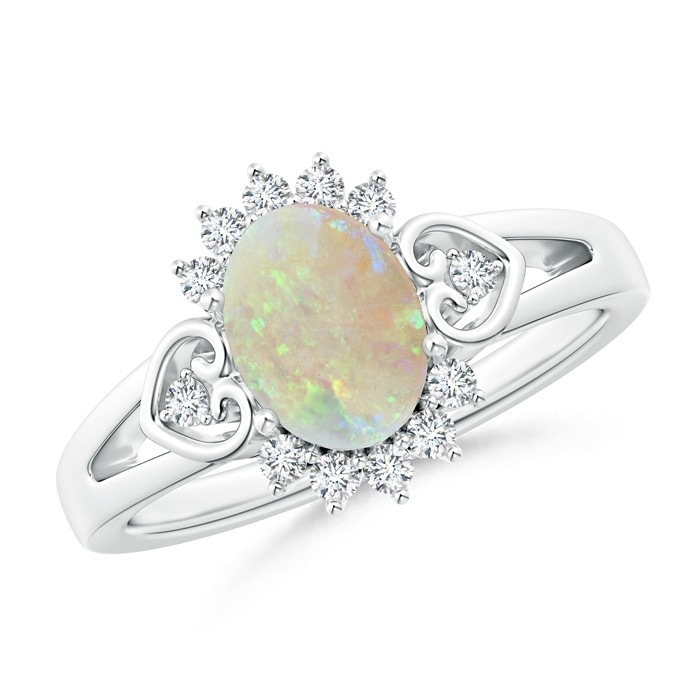 Angara Vintage Opal Engagement Ring in Platinum xCKhmR