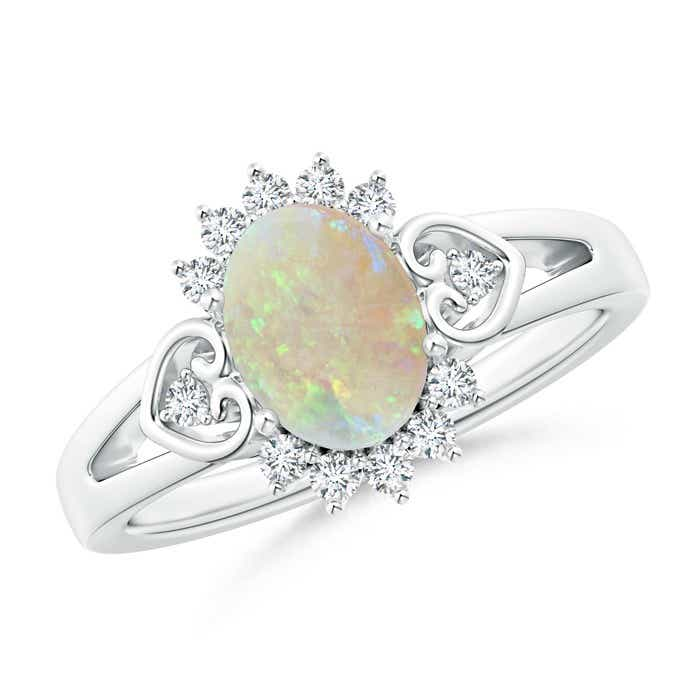 Angara Opal Diamond Wedding Band Ring Set in Platinum iAXH7TL