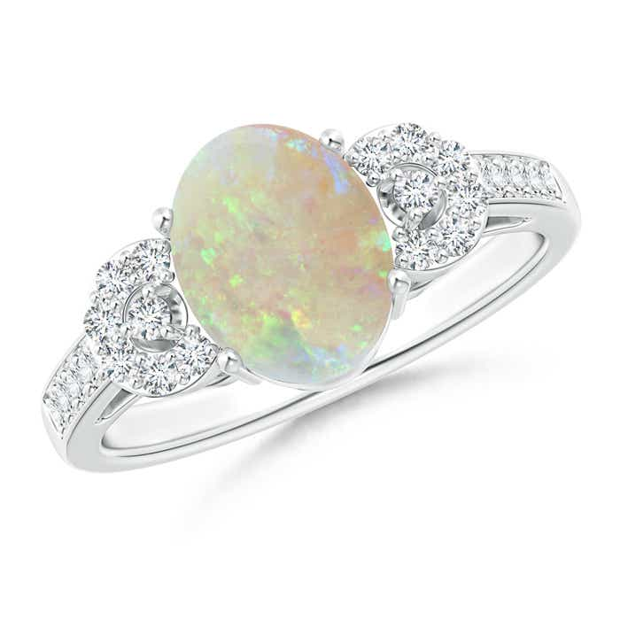 Angara Solitaire Oval Opal Cathedral Ring with Diamond Accents 6kZP5
