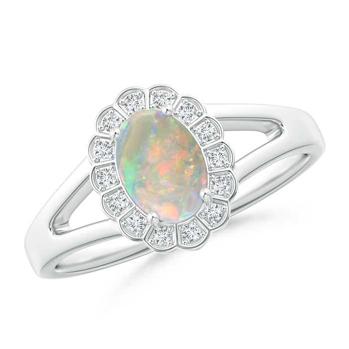 Angara Opal Engagement Ring with Halo Diamonds in White Gold Xucxb8