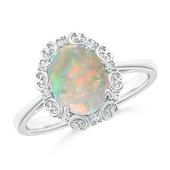 Angara Bezel-Set Opal Engagement Ring in White Gold
