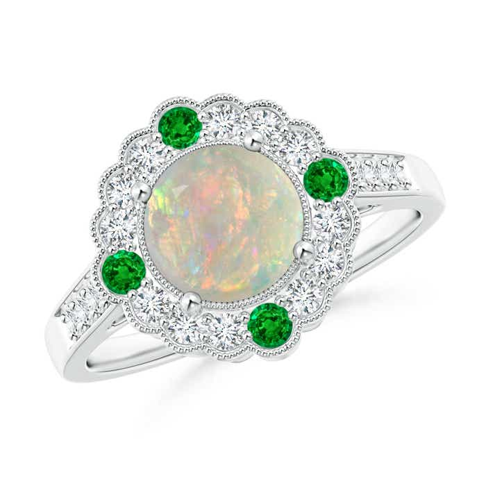 Angara Vintage Inspired Round Emerald Ring with Ornate Halo