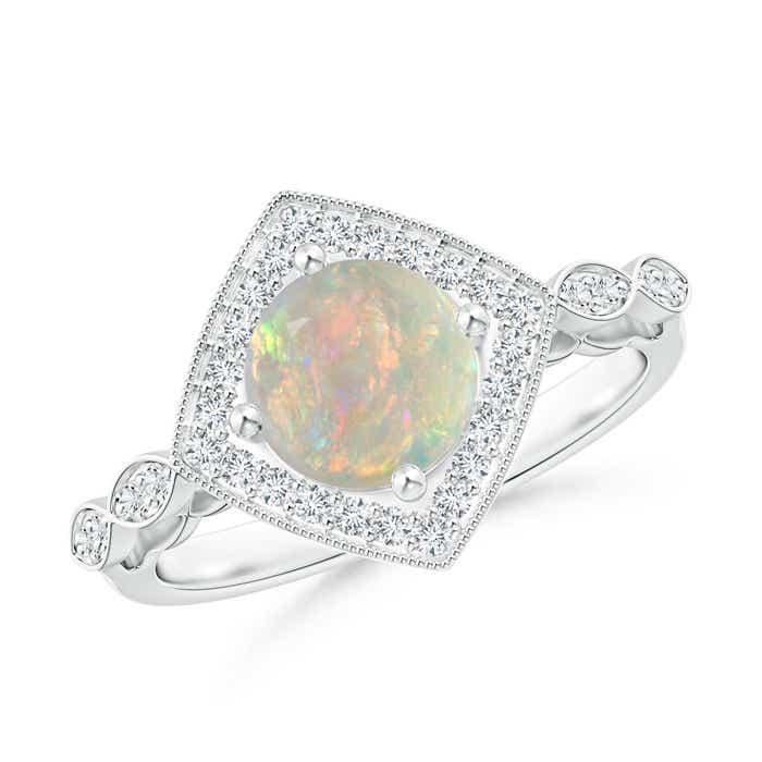 Angara Art Deco Inspired Opal and Diamond Halo Ring with Milgrain in Rose Gold i7fAzq0Mx