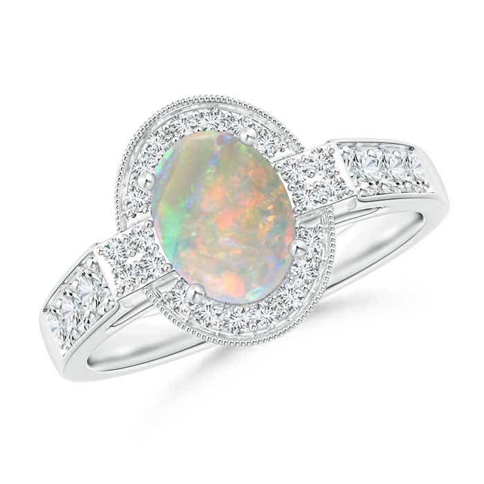 Angara Oval Opal Halo Ring with Milgrain Diamonds TNbMVabpQ