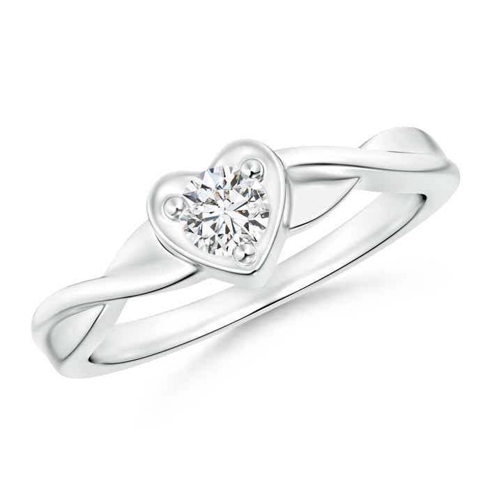 Angara Heart Diamond Promise Ring in Platinum