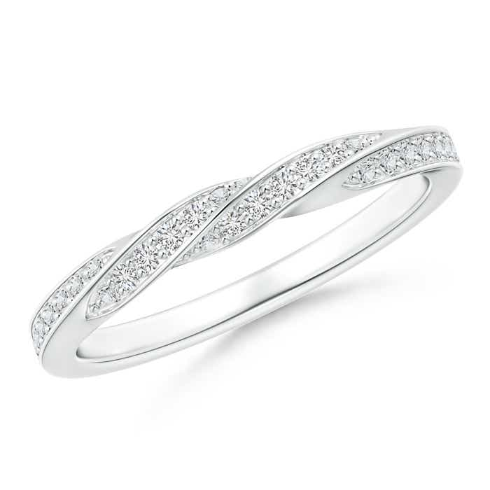 Angara U-Pave Set Diamond Half Eternity Wedding Band