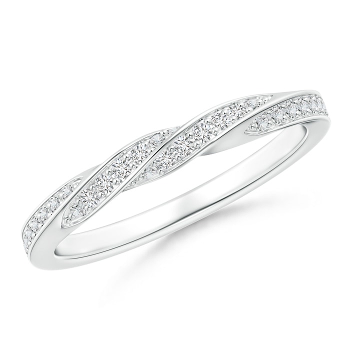 Angara Pave-Set Diamond Twisted Half Eternity Wedding Band OBb3X0u34