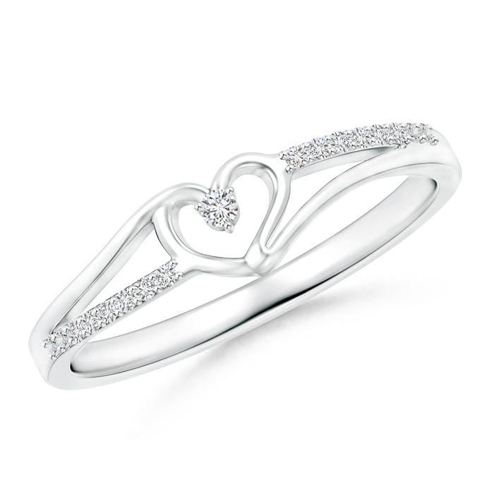 Angara Round Diamond Bypass Promise Ring in Platinum h0CTAHX7