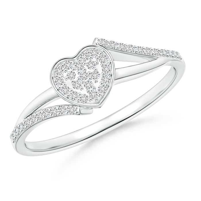 Angara Diamond Bypass Ring in White Gold