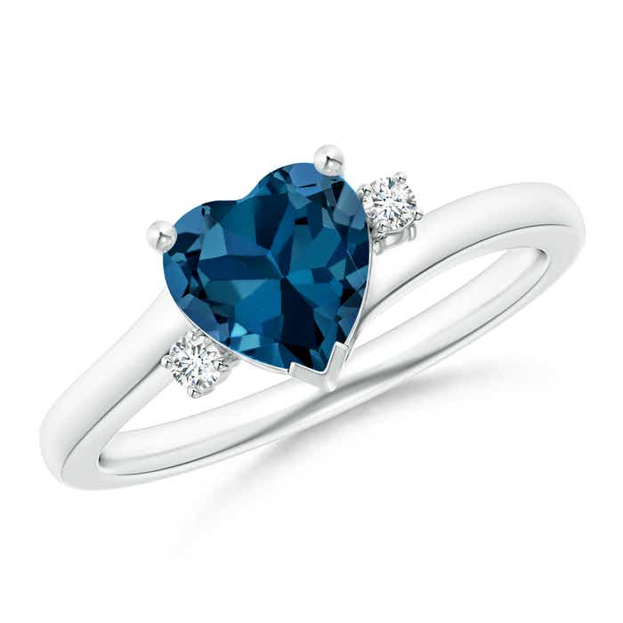 Angara Swiss Blue Topaz Heart Ring in Platinum