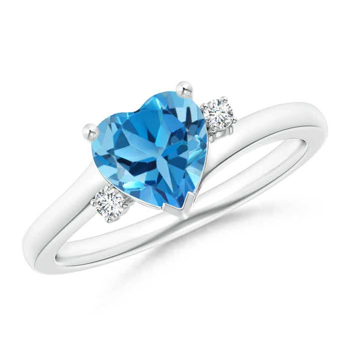 Angara Solitaire Swiss Blue Topaz Engagement Ring in Yellow Gold Yvbz7WCwBr
