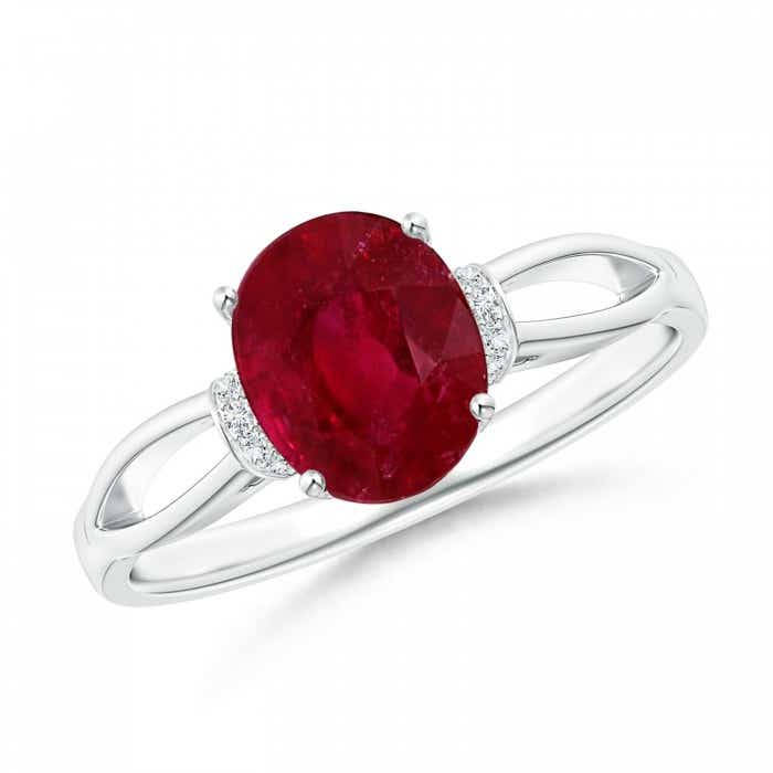Angara GIA Certified Oval Ruby Compass Ring with Diamond Halo hhj48uD