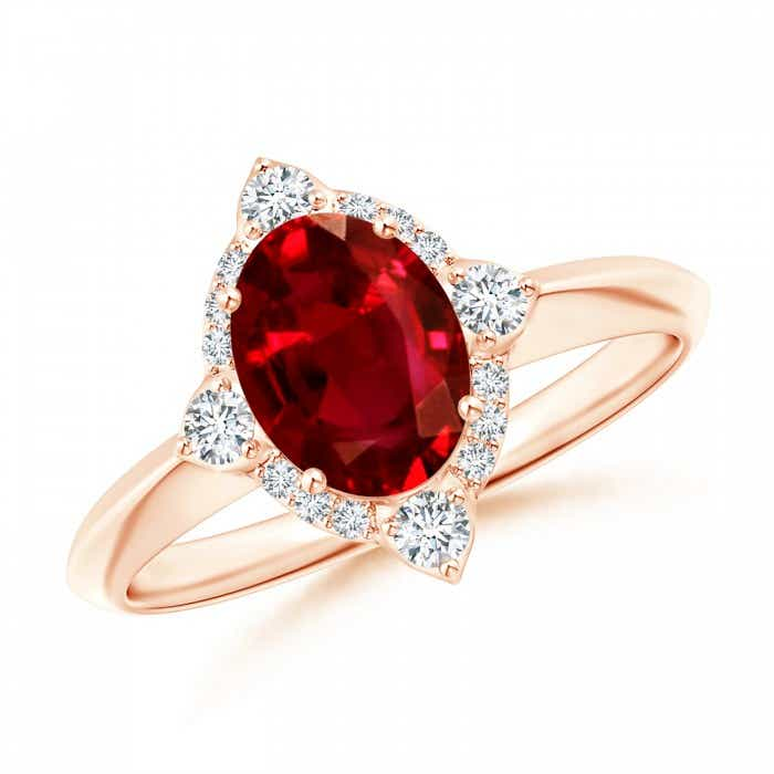 Angara Ruby Ring - GIA Certified Oval Ruby Compass Ring with Diamond Halo V0TaVA2T2m