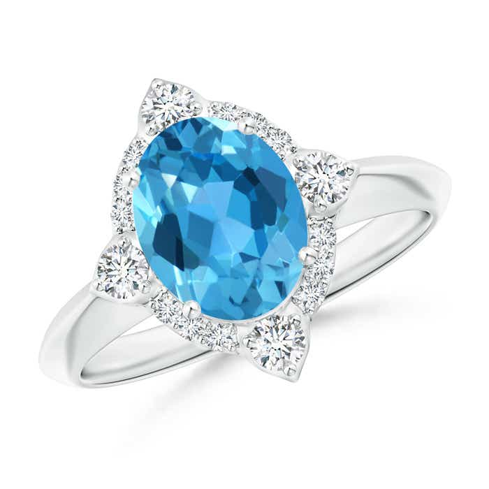 Angara Oval Swiss Blue Topaz Halo Ring with Diamond Accents eXtYzvVy7X