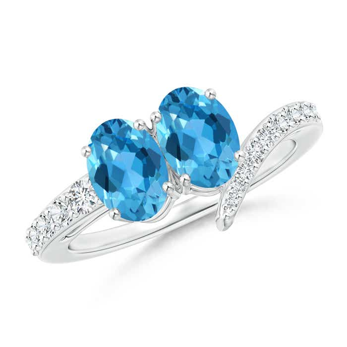 Angara Oval Swiss Blue Topaz and Diamond Wedding Band Ring Set