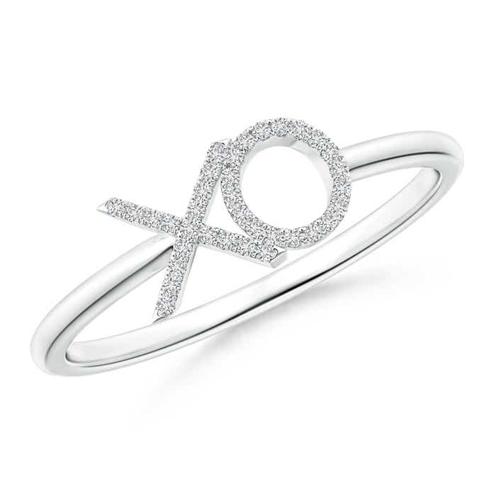 Angara Tapered-Shank Diamond Peace Sign Ring 5IYDJJH0v4