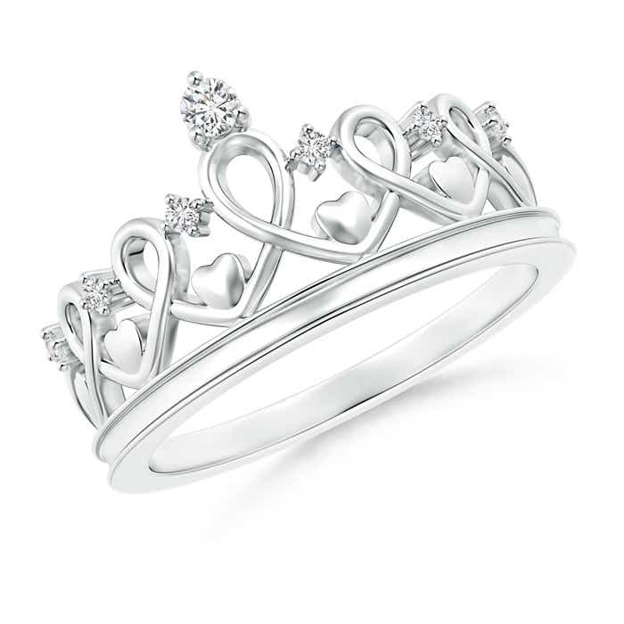 Angara Round Diamond Princess Heart Tiara Ring KF6ZMvz9Ud