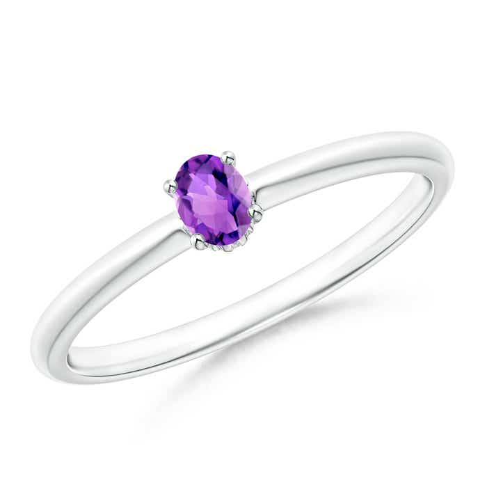 Angara Tapered Shank Amethyst Solitaire Ring with Four Prong 8MydZde