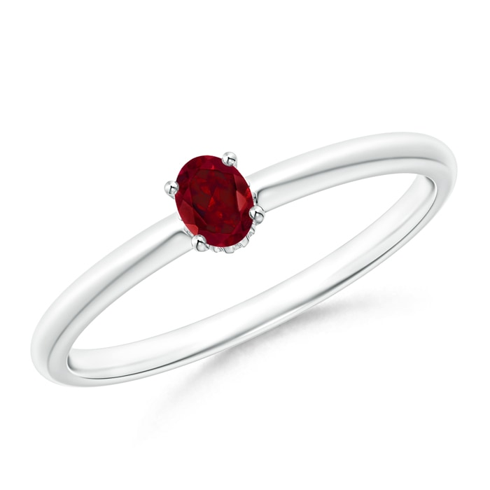 Angara Classic Solitaire Oval Ruby Split Shank Ring in Platinum
