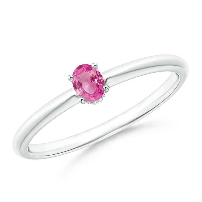 Angara 6 Prong Tapered Shank Oval Solitaire Pink Sapphire Ring in Yellow Gold UbRI3pZ