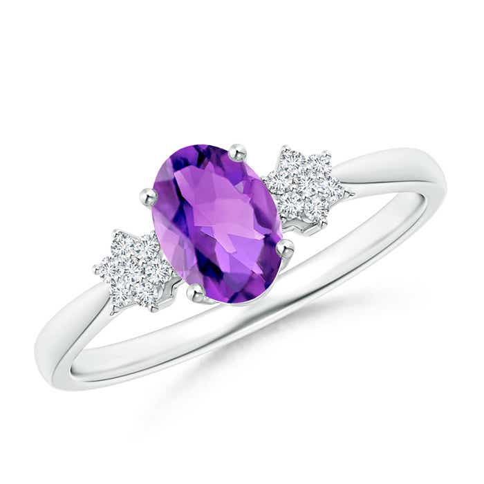 Angara Tapered Shank Amethyst Solitaire Ring with Diamond Accents
