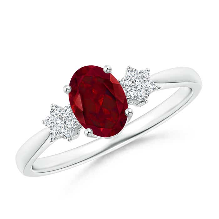 Angara Solitaire Oval Garnet Floral Ring with Diamond A50YHUC7t