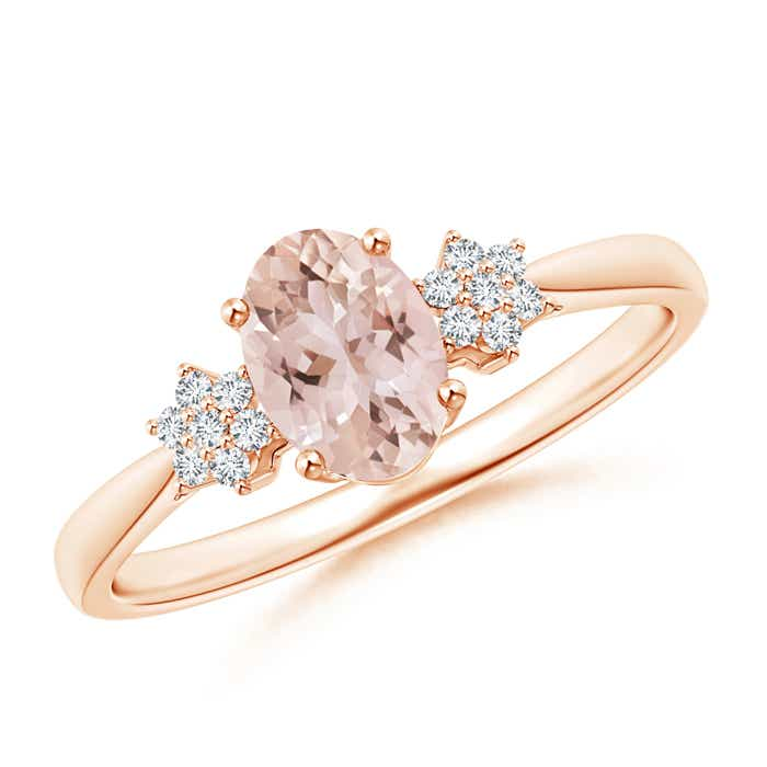 Angara Tapered Oval Morganite Solitaire Ring with Diamond Clusters