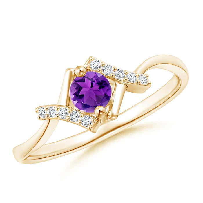 Angara Solitaire Amethyst Ring with Diamond Accent in Rose Gold nUIzwkwZ0