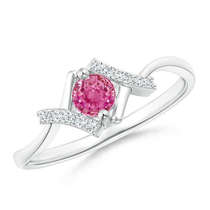 Angara Solitaire Pink Sapphire Bypass Ring with Diamond in 14k White Gold 05vFI4yN