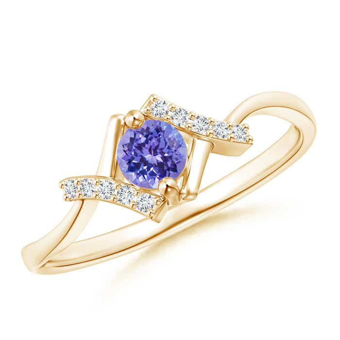 Angara Bezel Framed Heart Tanzanite and Diamond Promise Ring in White Gold