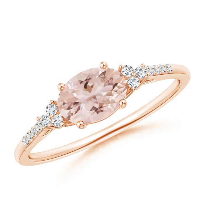 Angara Solitaire Morganite Ring with Trio Diamond Accents in Yellow Gold NZuqj